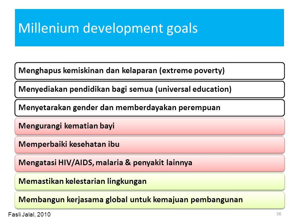 Millenium development goals Menghapus kemiskinan dan kelaparan (extreme poverty)Menyediakan pendidikan bagi semua (universal education)Menyetarakan ge