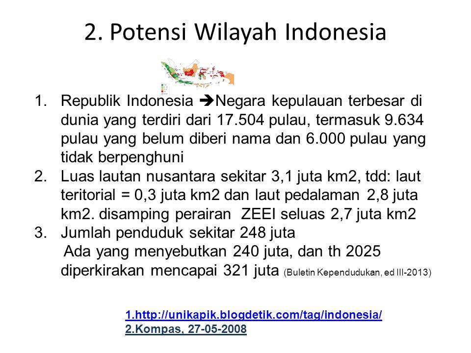 2. Potensi Wilayah Indonesia 1.Republik Indonesia  Negara kepulauan terbesar di dunia yang terdiri dari 17.504 pulau, termasuk 9.634 pulau yang belum