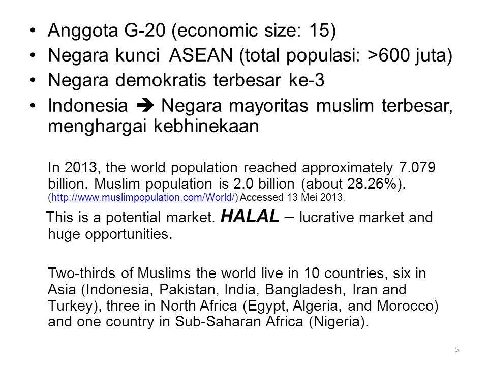 •Anggota G-20 (economic size: 15) •Negara kunci ASEAN (total populasi: >600 juta) •Negara demokratis terbesar ke-3 •Indonesia  Negara mayoritas musli