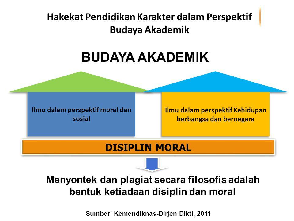 Menyontek dan plagiat secara filosofis adalah bentuk ketiadaan disiplin dan moral DISIPLIN MORAL BUDAYA AKADEMIK Hakekat Pendidikan Karakter dalam Per