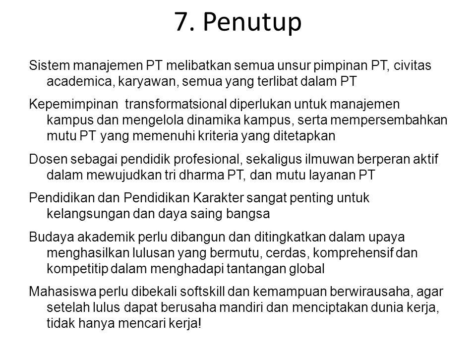 7. Penutup Sistem manajemen PT melibatkan semua unsur pimpinan PT, civitas academica, karyawan, semua yang terlibat dalam PT Kepemimpinan transformats