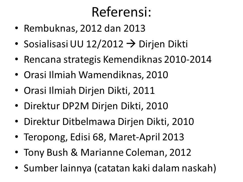 Referensi: • Rembuknas, 2012 dan 2013 • Sosialisasi UU 12/2012  Dirjen Dikti • Rencana strategis Kemendiknas 2010-2014 • Orasi Ilmiah Wamendiknas, 20