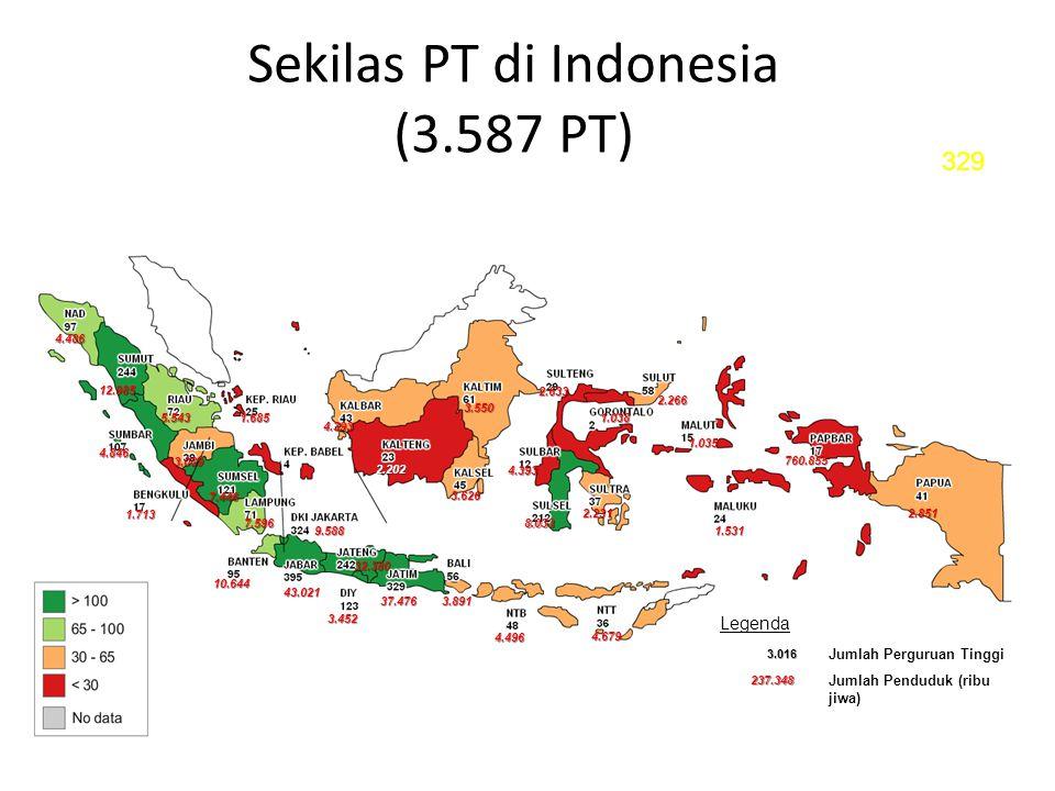 Sekilas PT di Indonesia (3.587 PT) 4.486 12.985 4.846 1.713 3.089 7.446 7.596 5.5431.685 4.393 2.202 3.626 8.033 2.231 4.393 3.550 2.633 1.038 2.266 1