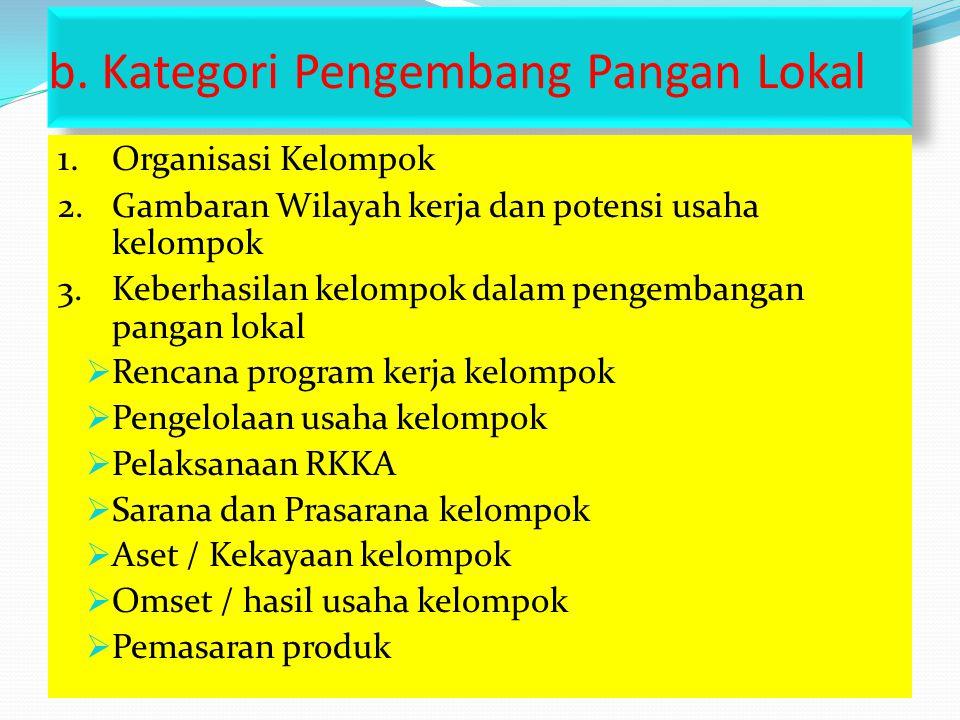 b. Kategori Pengembang Pangan Lokal 1. Organisasi Kelompok 2.Gambaran Wilayah kerja dan potensi usaha kelompok 3.Keberhasilan kelompok dalam pengemban