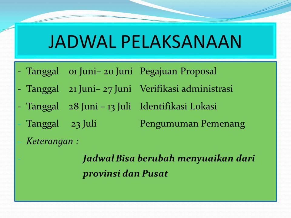 JADWAL PELAKSANAAN -Tanggal 01 Juni– 20 Juni Pegajuan Proposal -Tanggal 21 Juni– 27 Juni Verifikasi administrasi -Tanggal 28 Juni – 13 Juli Identifika