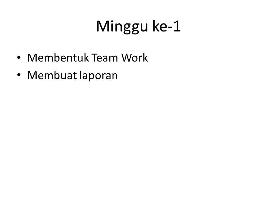 Minggu ke-1 • Membentuk Team Work • Membuat laporan