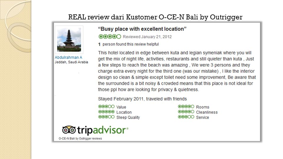 REAL review dari Kustomer O-CE-N Bali by Outrigger