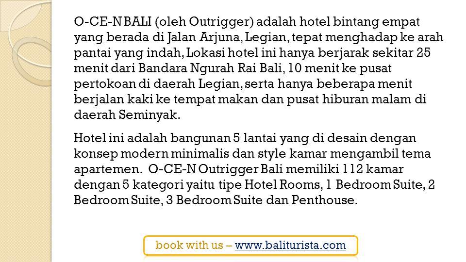 Tipe Hotel Rooms di hotel ini sudah dilengkapi dengan living room, sedangkan untuk tipe 1 Bedroom Suite, 2 Bedroom Suite, 3 Bedroom Suite dan Penthouse di setiap unit kamarnya selain ruang tamu besar yang nyaman, juga dilengkapi dengan meja makan dan kitchen set..