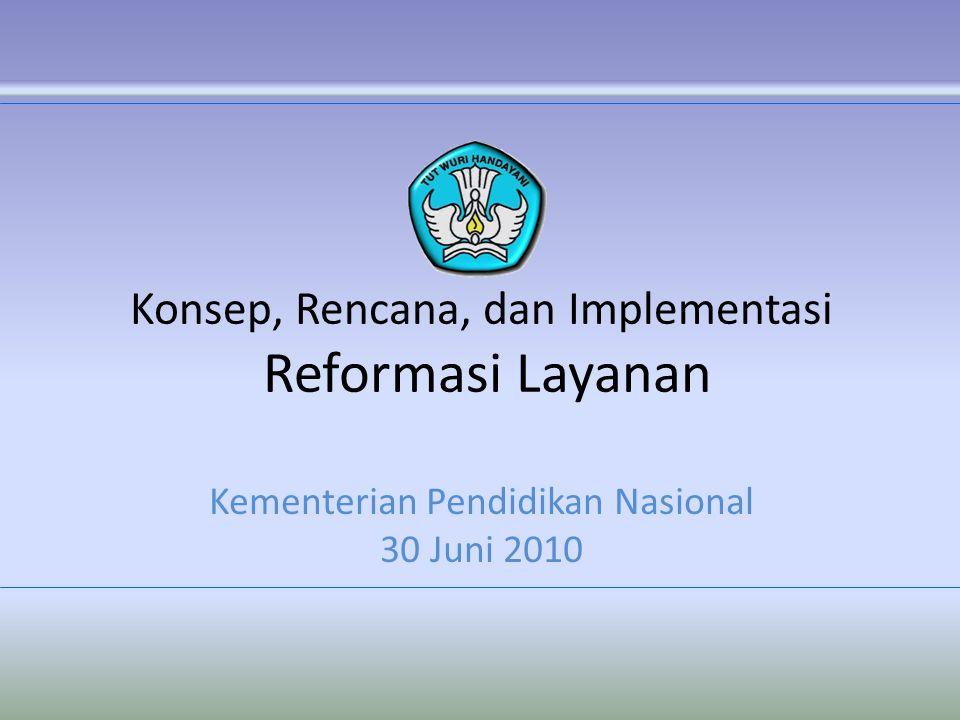 Konsep, Rencana, dan Implementasi Reformasi Layanan Kementerian Pendidikan Nasional 30 Juni 2010