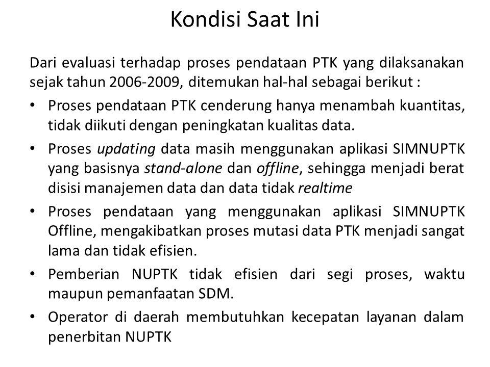 Kondisi Saat Ini Dari evaluasi terhadap proses pendataan PTK yang dilaksanakan sejak tahun 2006-2009, ditemukan hal-hal sebagai berikut : • Proses pen