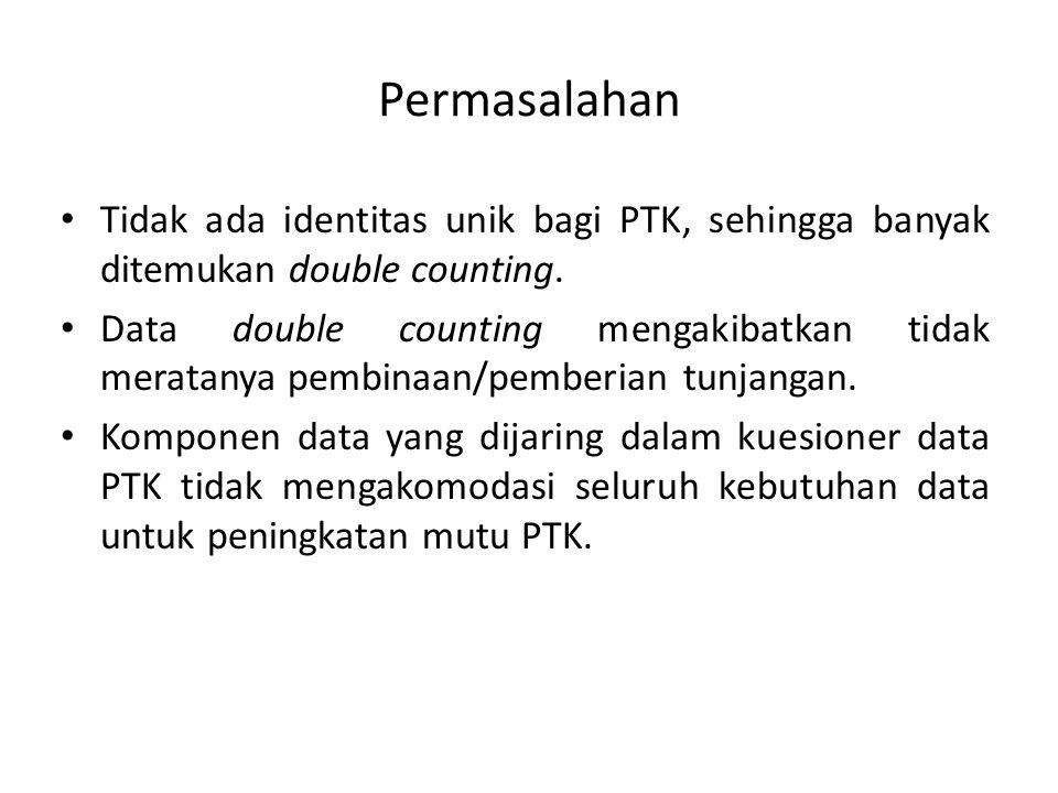 Permasalahan • Tidak ada identitas unik bagi PTK, sehingga banyak ditemukan double counting. • Data double counting mengakibatkan tidak meratanya pemb