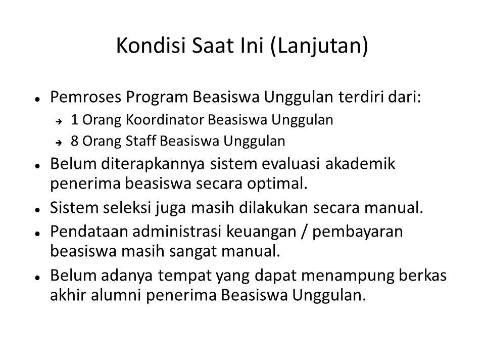 Kondisi Saat Ini (Lanjutan)  Pemroses Program Beasiswa Unggulan terdiri dari:  1 Orang Koordinator Beasiswa Unggulan  8 Orang Staff Beasiswa Unggul