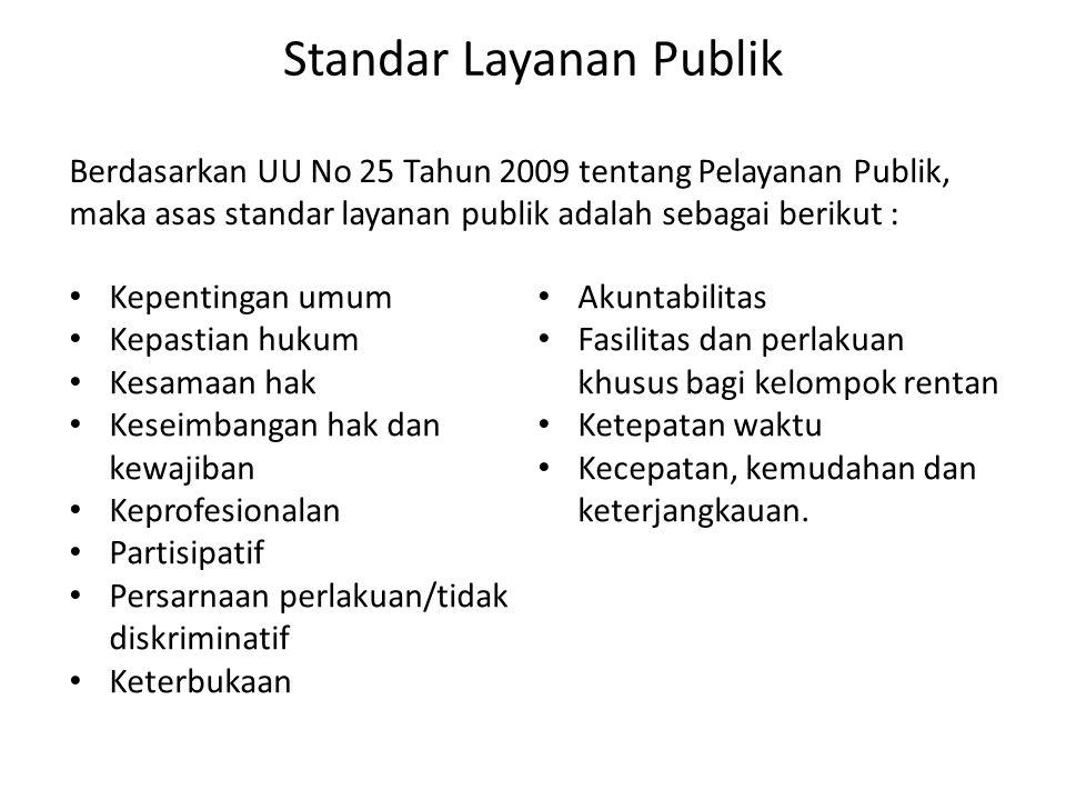 Standar Layanan Publik • Kepentingan umum • Kepastian hukum • Kesamaan hak • Keseimbangan hak dan kewajiban • Keprofesionalan • Partisipatif • Persarn