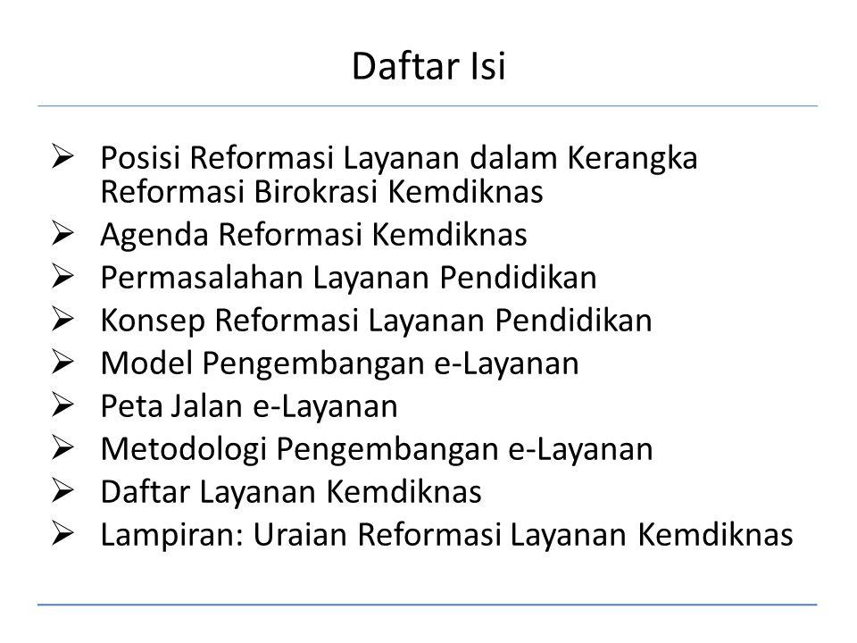 Daftar Isi  Posisi Reformasi Layanan dalam Kerangka Reformasi Birokrasi Kemdiknas  Agenda Reformasi Kemdiknas  Permasalahan Layanan Pendidikan  Ko