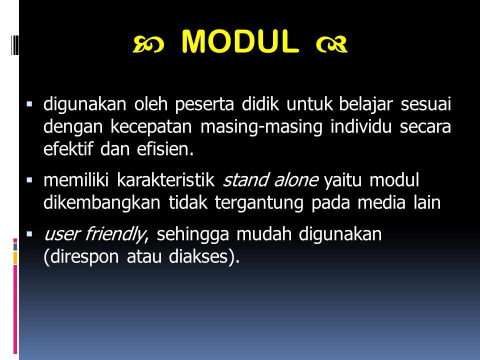  digunakan oleh peserta didik untuk belajar sesuai dengan kecepatan masing-masing individu secara efektif dan efisien.  memiliki karakteristik stand
