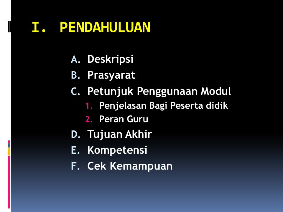 I.PENDAHULUAN A. Deskripsi B. Prasyarat C. Petunjuk Penggunaan Modul 1. Penjelasan Bagi Peserta didik 2. Peran Guru D. Tujuan Akhir E. Kompetensi F. C