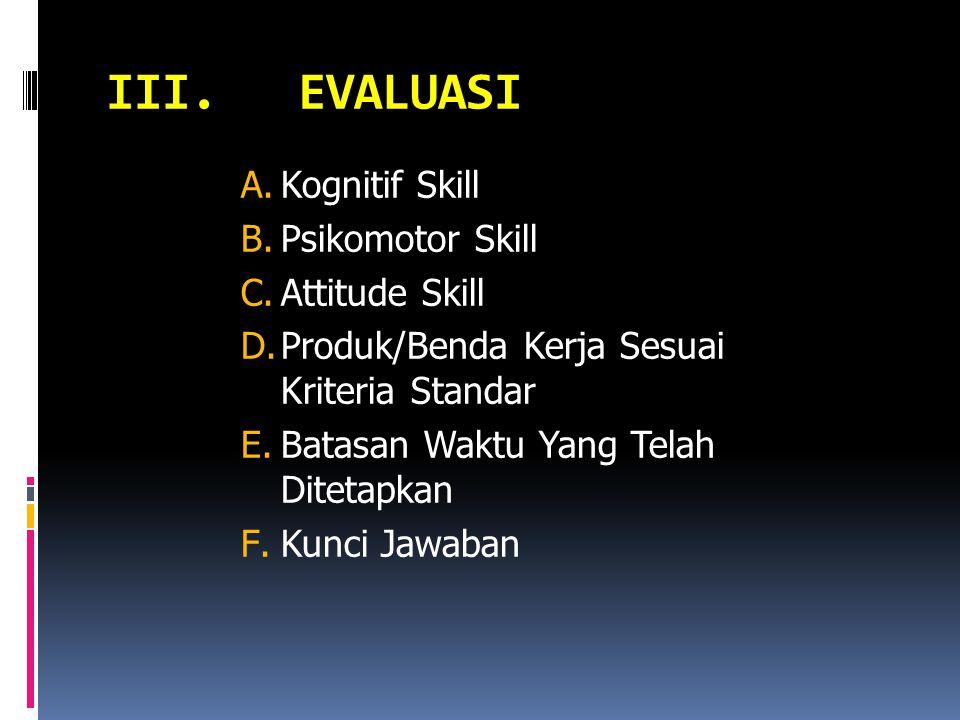 III.EVALUASI A.Kognitif Skill B.Psikomotor Skill C.Attitude Skill D.Produk/Benda Kerja Sesuai Kriteria Standar E.Batasan Waktu Yang Telah Ditetapkan F