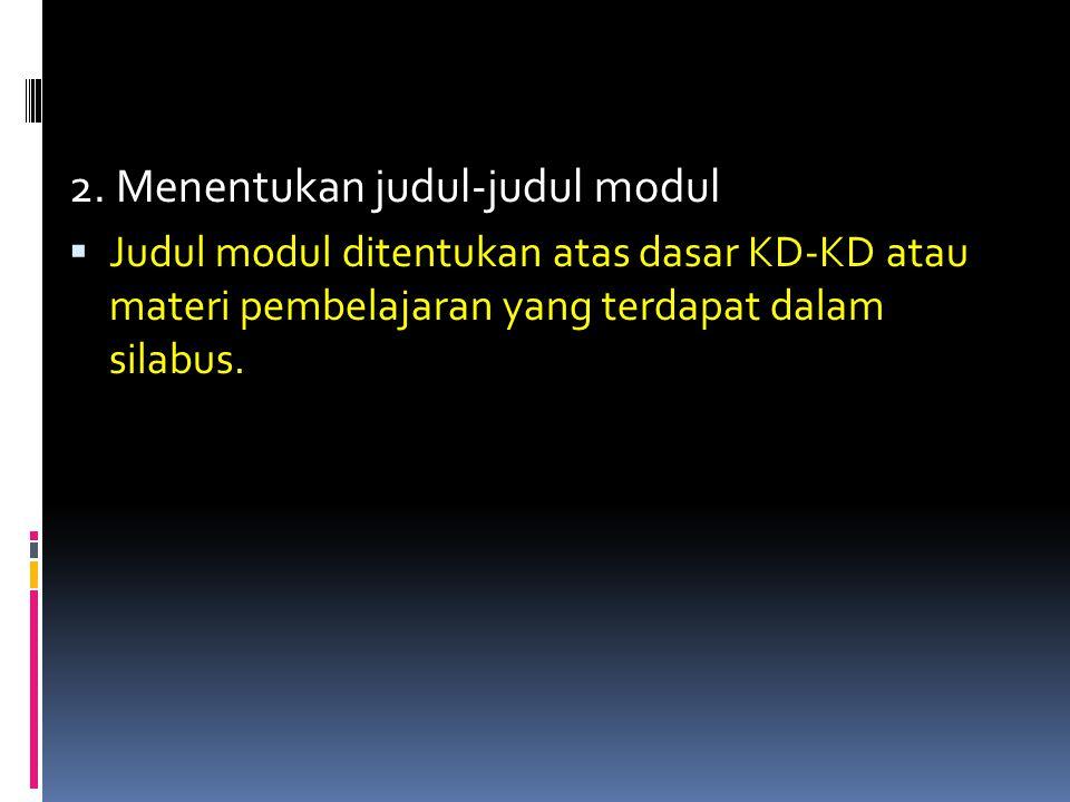 2. Menentukan judul-judul modul  Judul modul ditentukan atas dasar KD-KD atau materi pembelajaran yang terdapat dalam silabus.