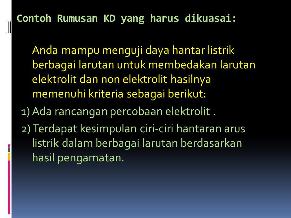 Contoh Rumusan KD yang harus dikuasai: Anda mampu menguji daya hantar listrik berbagai larutan untuk membedakan larutan elektrolit dan non elektrolit