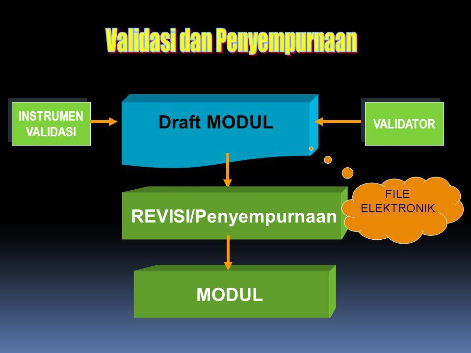 Draft MODUL MODUL INSTRUMEN VALIDASI INSTRUMEN VALIDASI VALIDATOR REVISI/Penyempurnaan FILE ELEKTRONIK