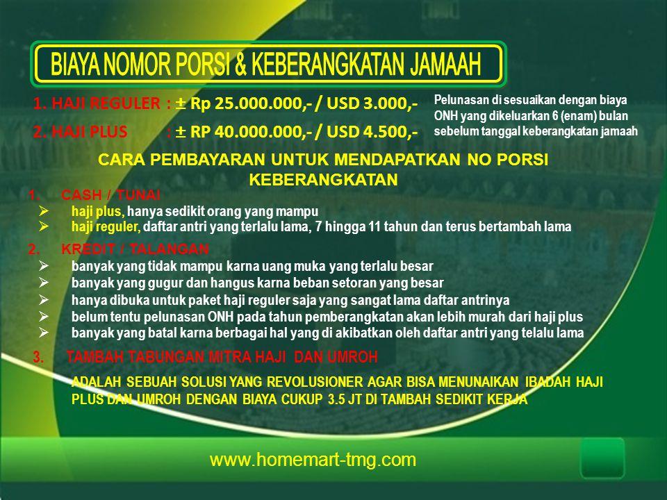 2.HAJI PLUS : ± RP 40.000.000,- / USD 4.500,- 1.