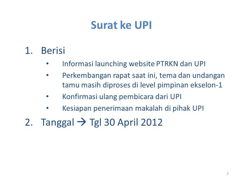 3 1.Berisi • Informasi launching website PTRKN dan UPI • Perkembangan rapat saat ini, tema dan undangan tamu masih diproses di level pimpinan ekselon-