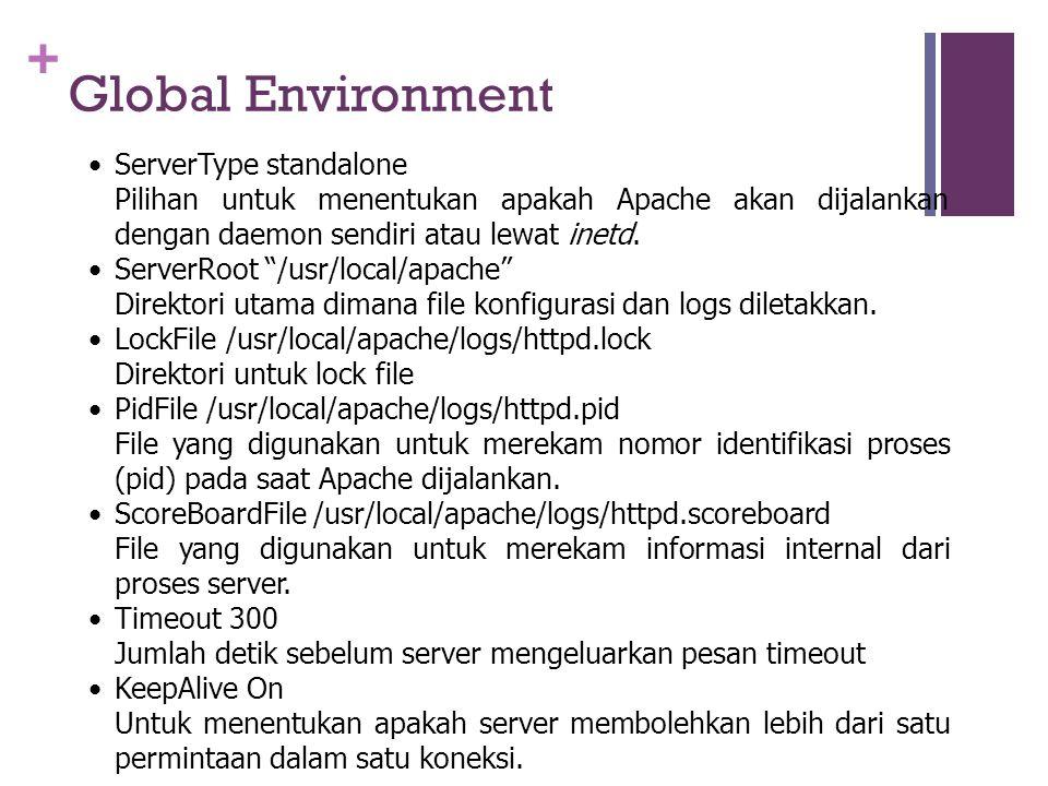 + Global Environment •ServerType standalone Pilihan untuk menentukan apakah Apache akan dijalankan dengan daemon sendiri atau lewat inetd.