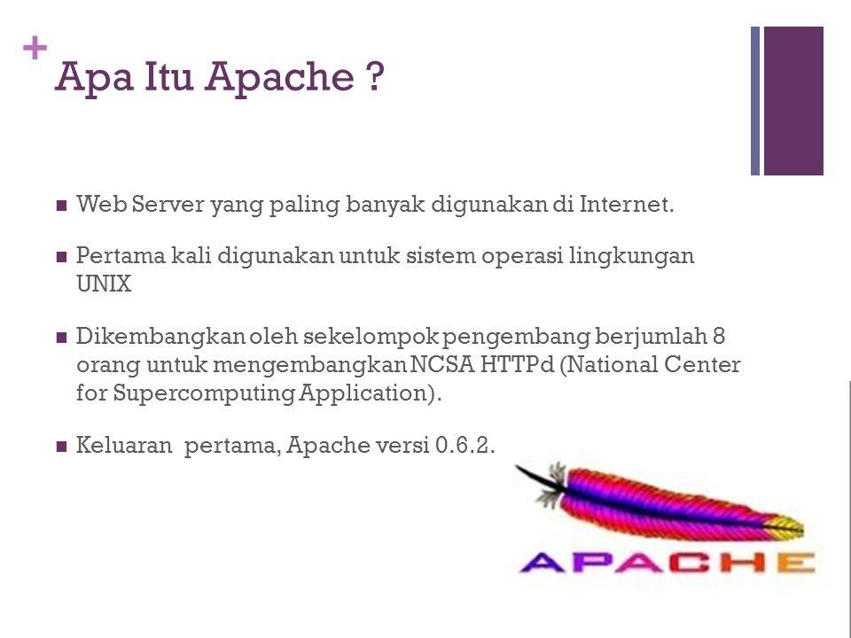 + Apa Itu Apache .  Web Server yang paling banyak digunakan di Internet.