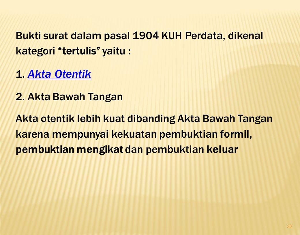 31 Hukum Acara Perdata pasal 164 Herzien Inlands Reglement (HIR) atau Reglemen Indonesia yang Diperbaharui (RiB) Straatsblaad 1941 Nomor 44 dan pasal