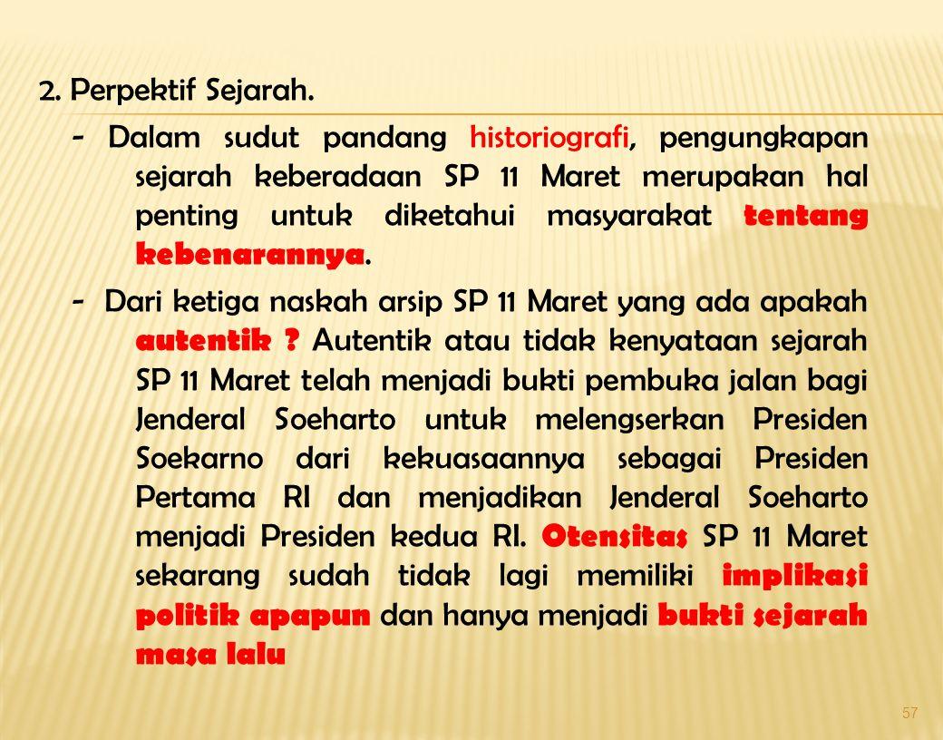56 -Dalam buku Kudeta Supersemar, Penyerahan atau Perampasan Kekuasaan oleh Achmad Wisnu Aji, Halaman 33:…..Jadi, apakah Supersemar itu ada, saya yaki