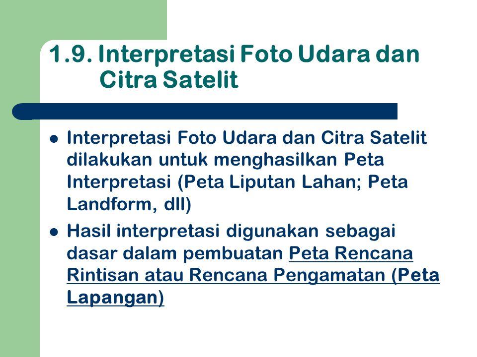 1.9. Interpretasi Foto Udara dan Citra Satelit  Interpretasi Foto Udara dan Citra Satelit dilakukan untuk menghasilkan Peta Interpretasi (Peta Liputa
