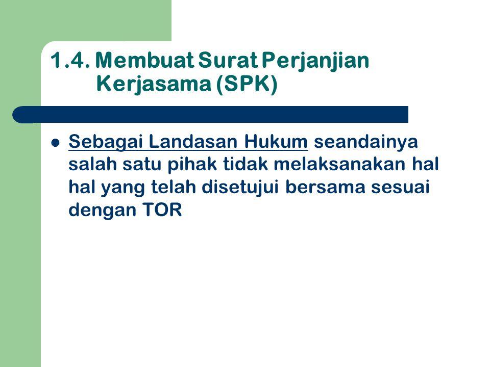 1.4. Membuat Surat Perjanjian Kerjasama (SPK)  Sebagai Landasan Hukum seandainya salah satu pihak tidak melaksanakan hal hal yang telah disetujui ber