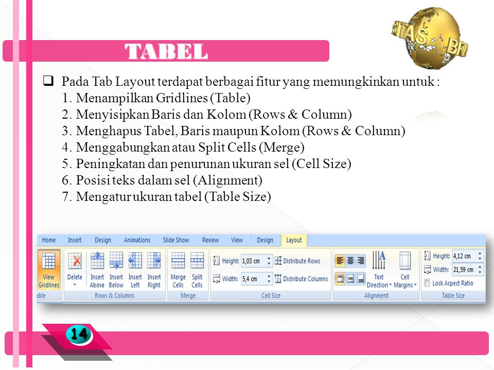 TABEL 1414  Pada Tab Layout terdapat berbagai fitur yang memungkinkan untuk : 1.Menampilkan Gridlines (Table) 2.Menyisipkan Baris dan Kolom (Rows & Column) 3.Menghapus Tabel, Baris maupun Kolom (Rows & Column) 4.Menggabungkan atau Split Cells (Merge) 5.Peningkatan dan penurunan ukuran sel (Cell Size) 6.Posisi teks dalam sel (Alignment) 7.Mengatur ukuran tabel (Table Size)