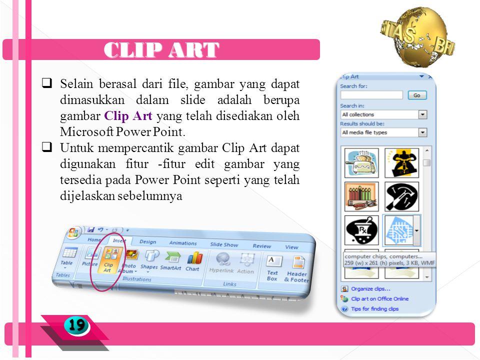CLIP ART 1919  Selain berasal dari file, gambar yang dapat dimasukkan dalam slide adalah berupa gambar Clip Art yang telah disediakan oleh Microsoft Power Point.