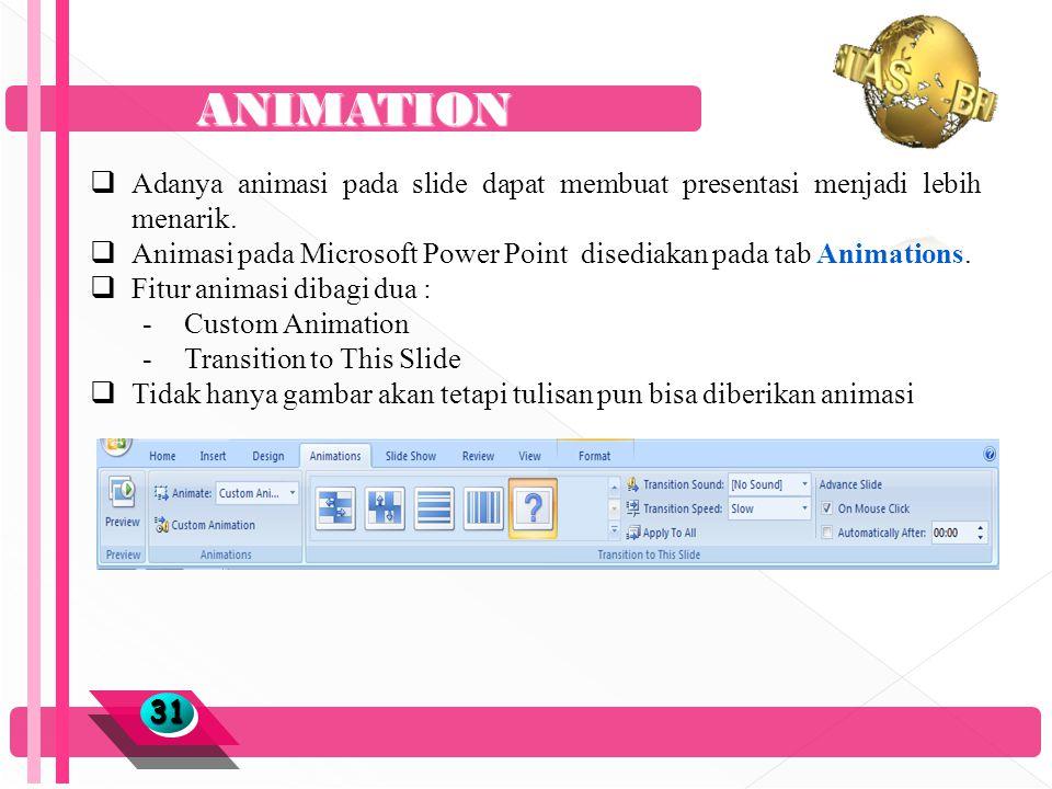 ANIMATION 3131  Adanya animasi pada slide dapat membuat presentasi menjadi lebih menarik.