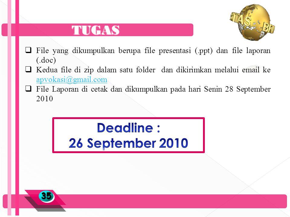TUGAS 3535  File yang dikumpulkan berupa file presentasi (.ppt) dan file laporan (.doc)  Kedua file di zip dalam satu folder dan dikirimkan melalui email ke apvokasi@gmail.com apvokasi@gmail.com  File Laporan di cetak dan dikumpulkan pada hari Senin 28 September 2010