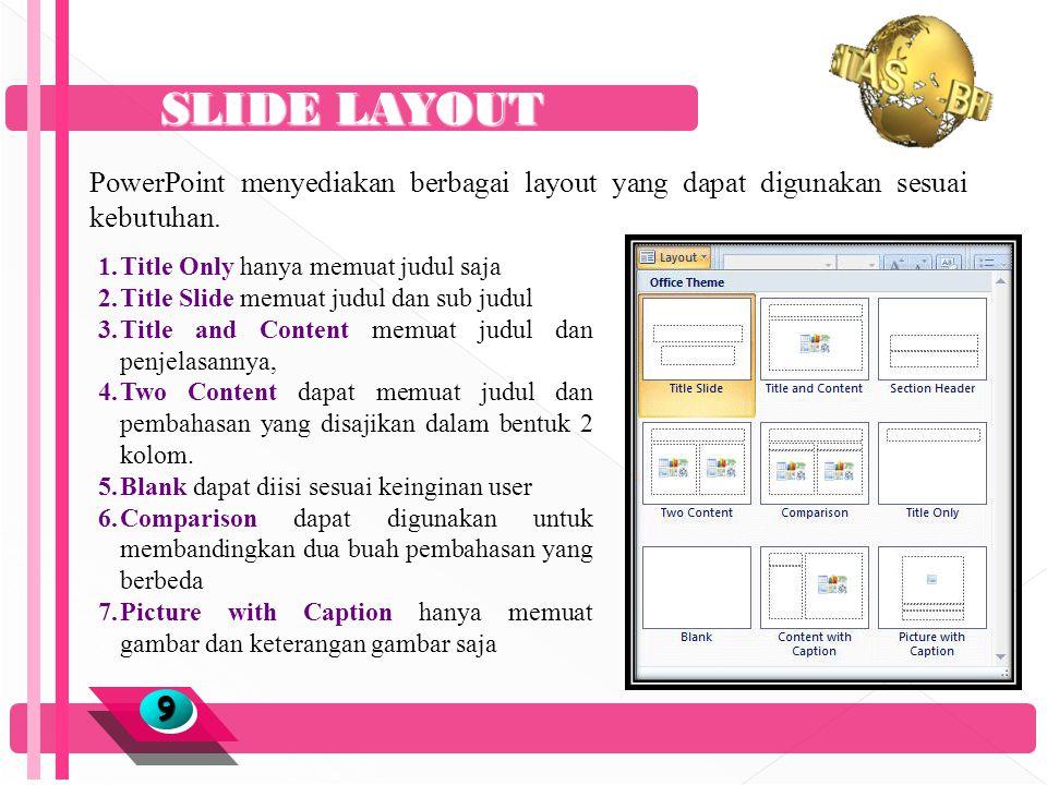 SLIDE LAYOUT 99 PowerPoint menyediakan berbagai layout yang dapat digunakan sesuai kebutuhan.