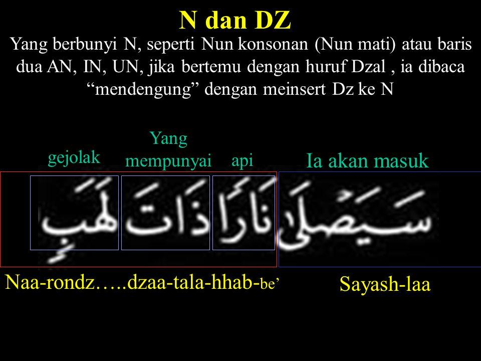 N dan DZ Yang berbunyi N, seperti Nun konsonan (Nun mati) atau baris dua AN, IN, UN, jika bertemu dengan huruf Dzal, ia dibaca mendengung dengan meinsert Dz ke N Naa-rondz…..dzaa-tala-hhab- be' Sayash-laa Ia akan masuk api Yang mempunyai gejolak
