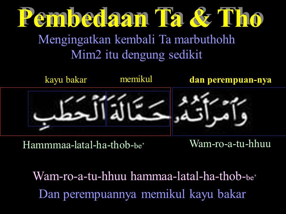 Pembedaan Ta & Tho Pembedaan Ta & Tho Mengingatkan kembali Ta marbuthohh Mim2 itu dengung sedikit Hammmaa-latal-ha-thob- be' Wam-ro-a-tu-hhuu dan perempuan-nya memikul kayu bakar Wam-ro-a-tu-hhuu hammaa-latal-ha-thob- be' Dan perempuannya memikul kayu bakar