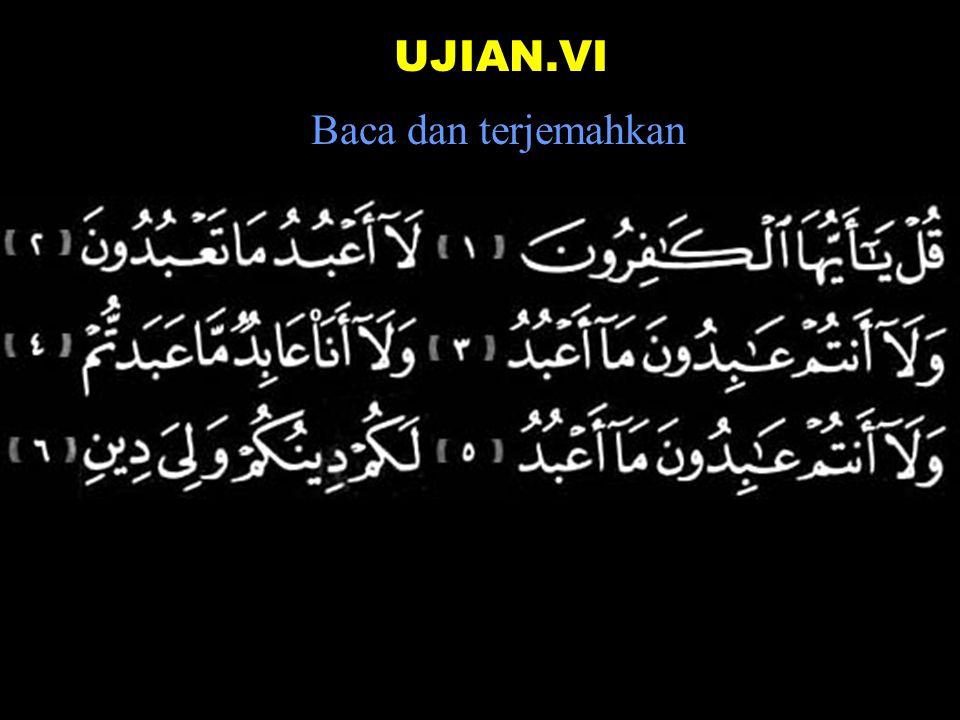 2a dan tanda vokal (An) Berhenti dibaca aa dan disambung dibaca an Tulisannya: Af-waa-jan Dibaca: Af-waa-jaa (Kalau berhenti di sana, Tapi kalau disambung, bacanya : Afwaajan ) Fii-dii-nillaahhi Beramai-ramai Dalam agama Allaahh Wa-ro-ai-tannnn-naasa Dan engkau lihat manusia Yad-khuluuna mereka masuk