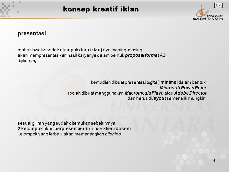 5 konsep kreatif iklan fin. good luck 'n do your best!