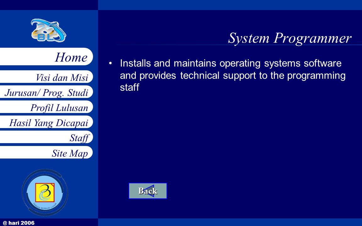 @ hari 2006 Jurusan/ Prog. Studi Profil Lulusan Hasil Yang Dicapai Staff Visi dan Misi Home Site Map System Programmer •Installs and maintains operati