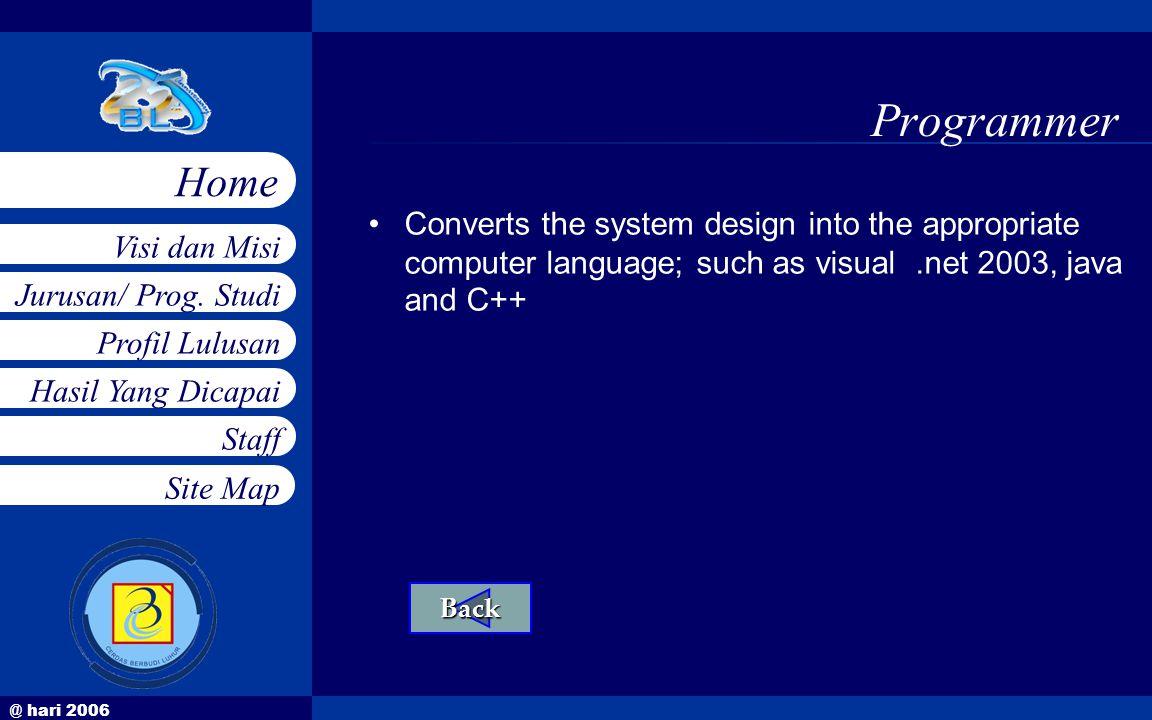 @ hari 2006 Jurusan/ Prog. Studi Profil Lulusan Hasil Yang Dicapai Staff Visi dan Misi Home Site Map Programmer •Converts the system design into the a