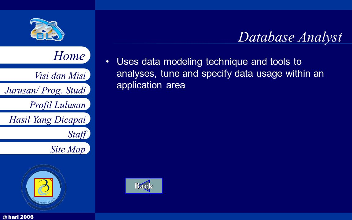 @ hari 2006 Jurusan/ Prog. Studi Profil Lulusan Hasil Yang Dicapai Staff Visi dan Misi Home Site Map Database Analyst •Uses data modeling technique an
