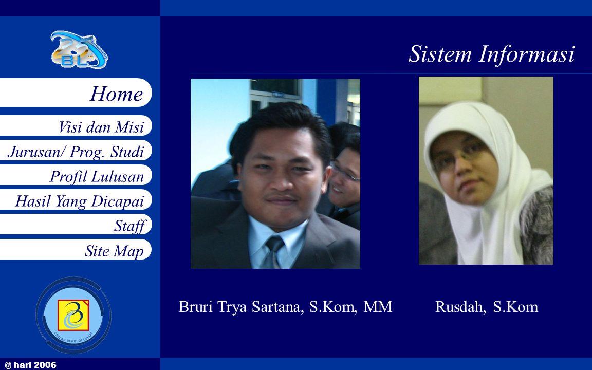 @ hari 2006 Jurusan/ Prog. Studi Profil Lulusan Hasil Yang Dicapai Staff Visi dan Misi Home Site Map Sistem Informasi Bruri Trya Sartana, S.Kom, MM Ru