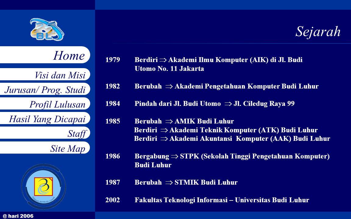@ hari 2006 Jurusan/ Prog. Studi Profil Lulusan Hasil Yang Dicapai Staff Visi dan Misi Home Site Map Sejarah 1979Berdiri  Akademi Ilmu Komputer (AIK)