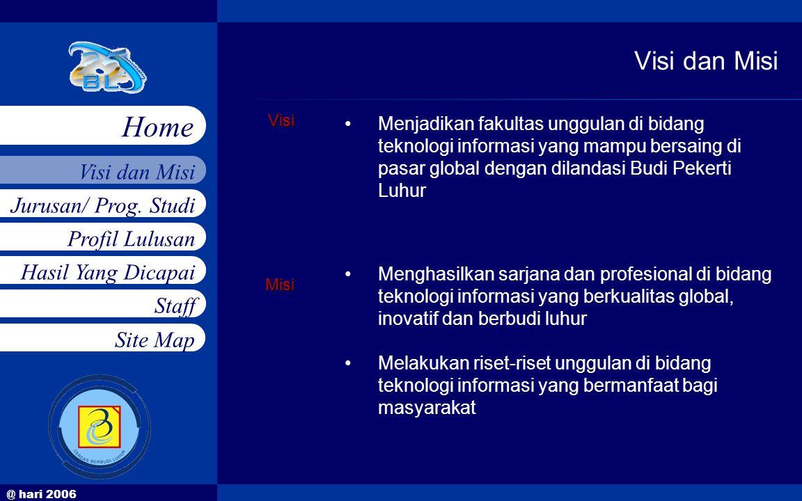 @ hari 2006 Jurusan/ Prog. Studi Profil Lulusan Hasil Yang Dicapai Staff Visi dan Misi Home Site MapVisiMisi •Menjadikan fakultas unggulan di bidang t