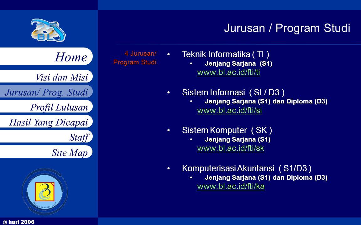 @ hari 2006 Jurusan/ Prog. Studi Profil Lulusan Hasil Yang Dicapai Staff Visi dan Misi Home Site Map 4 Jurusan/ Program Studi •Teknik Informatika ( TI