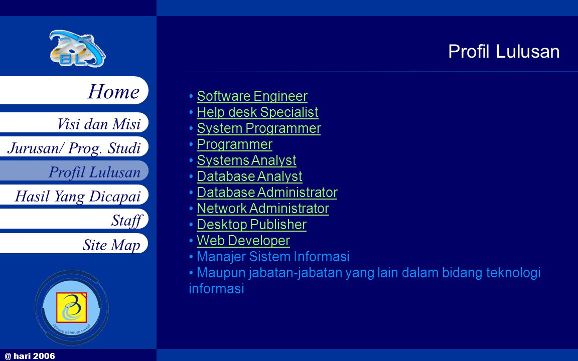 @ hari 2006 Jurusan/ Prog. Studi Profil Lulusan Hasil Yang Dicapai Staff Visi dan Misi Home Site Map Profil Lulusan • Software EngineerSoftware Engine