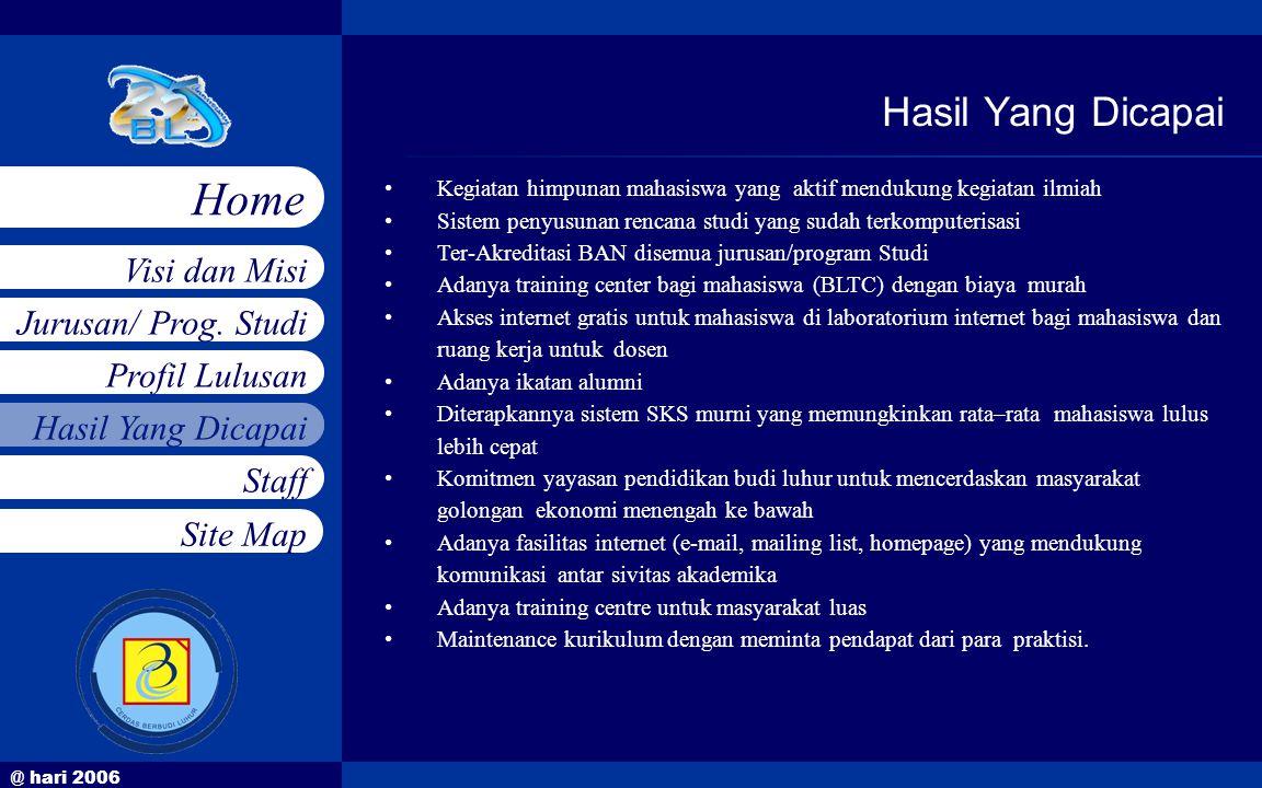 @ hari 2006 Jurusan/ Prog. Studi Profil Lulusan Hasil Yang Dicapai Staff Visi dan Misi Home Site Map •Kegiatan himpunan mahasiswa yang aktif mendukung